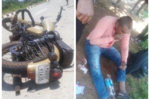 मुंबई गोवा महामार्गावर मोटरसायकलचा अपघात..