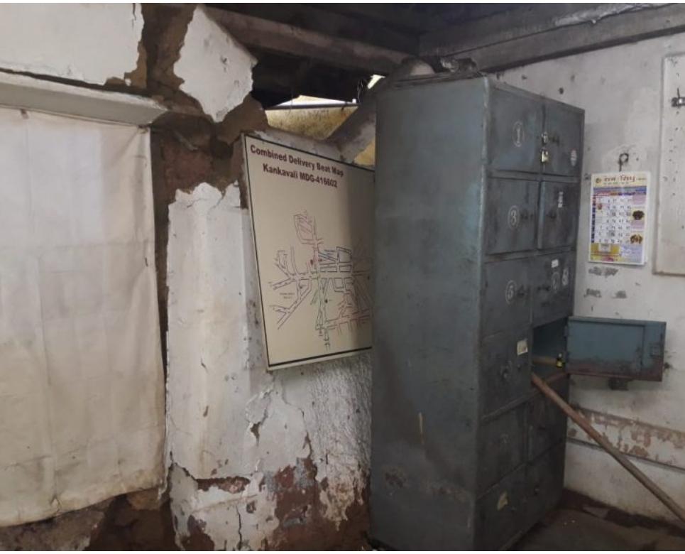 कणकवली पोस्ट कार्यालयाची भिंत कोसळली…
