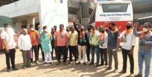 Read more about the article एसटी कामगारांना पगार द्या, कणकवलीत भाजपचे सरकार विरुद्ध आंदोलन…