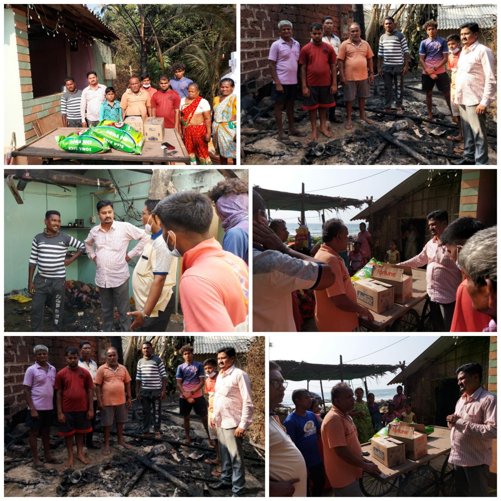 देवबाग येथील जळीत घराच्या कुटुंबासाठी मनसे नेते परशुराम उपरकर यांची मदत