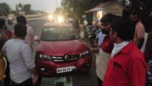 जानवली पुलावर बुलेट व कारमध्ये अपघात; कारचे मोठे नुकसान
