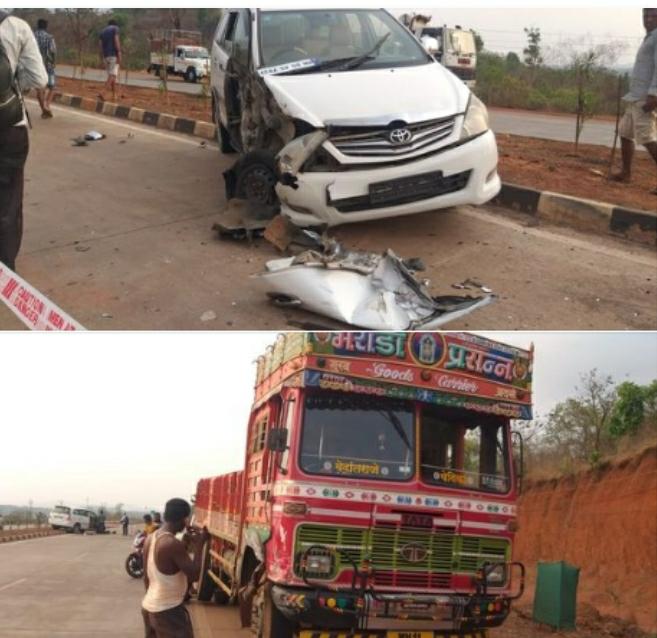 हायवेवर ट्रक आणि इनोव्हाची धडक ; दोन्ही वाहनांचे नुकसान