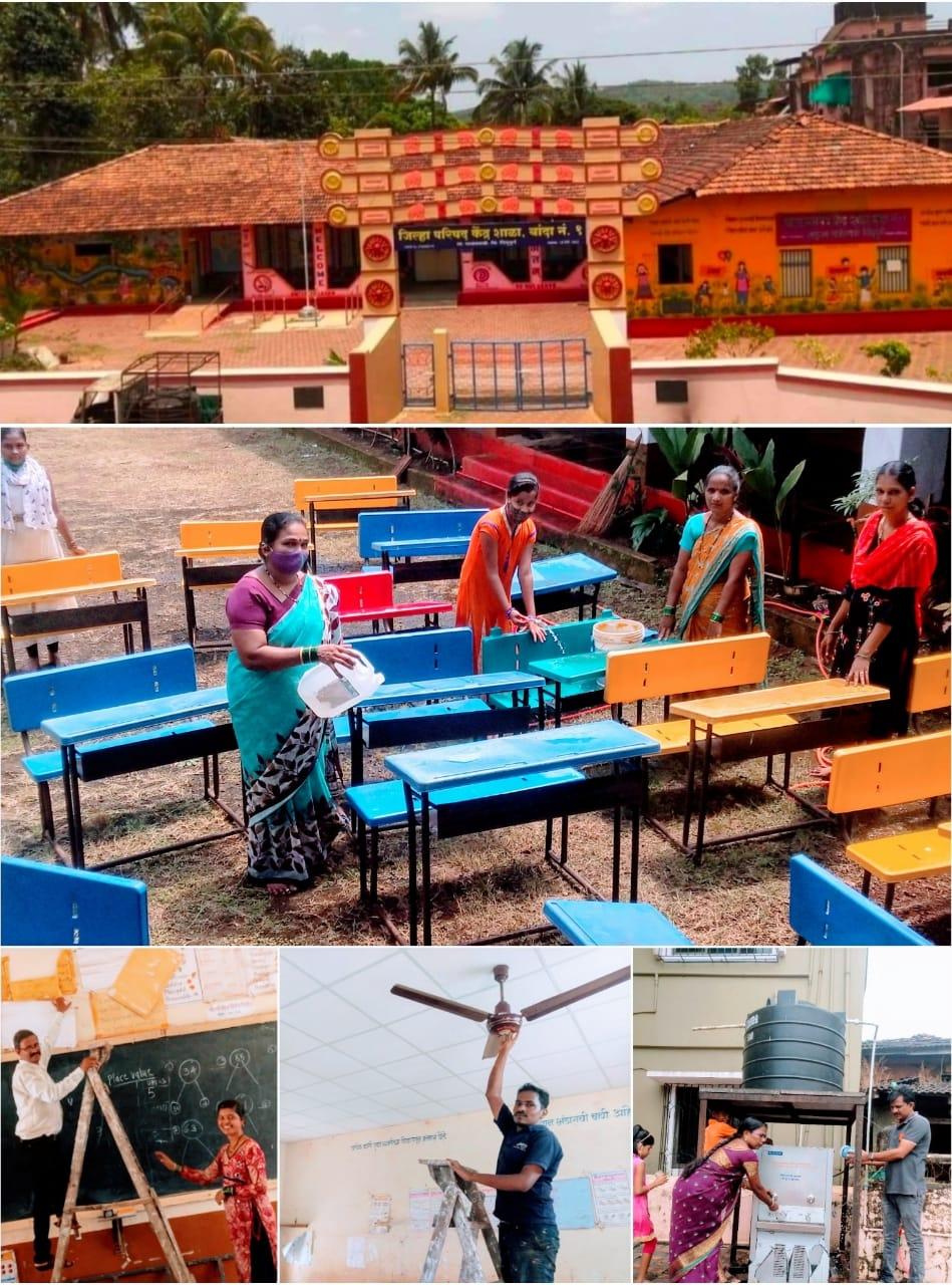 You are currently viewing शाळा सुरू करण्यापूर्वी बांदा शाळेतील पालकांकडून स्वच्छता अभियान राबवून पूर्वतयारी